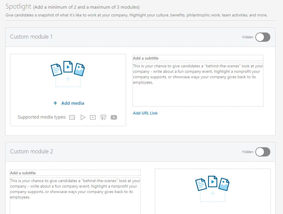 spotlight modules toevoegen aan je linkedin carrièrepagina