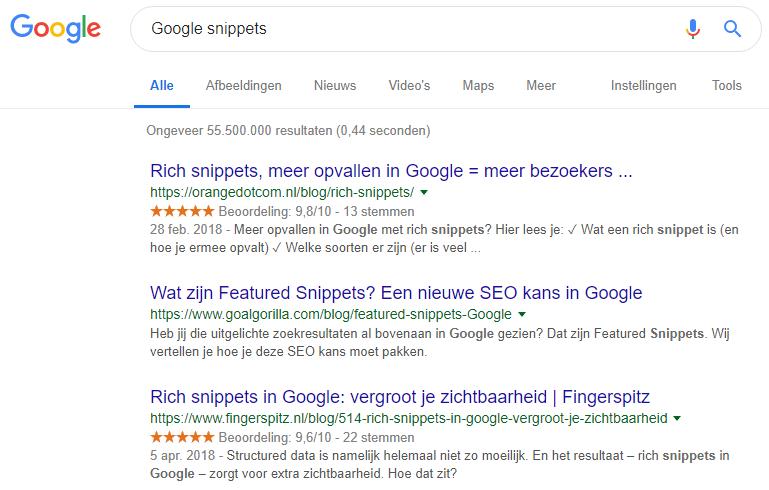 Verschillende zoekresultaten weergegeven. De zoekopdracht is: Google Snippets.