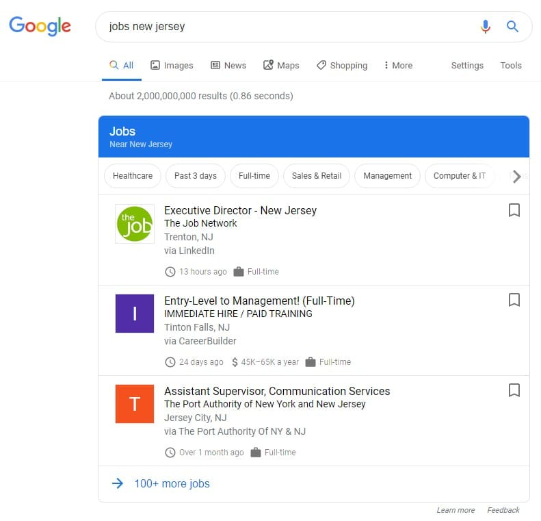 google for jobs resultaten in new jersey